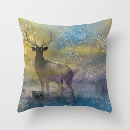 Burning Mists - watercolor illustration painting of an elk coming out of a magical fairy mist from a Throw Pillow