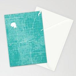 Oklahoma City map turquoise Stationery Cards