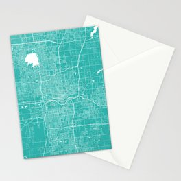Oklahoma City map turquoise Stationery Cards