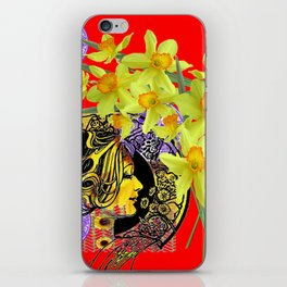 RED ART NOUVEAU MAGIC OF SPRING iPhone Skin