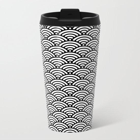Black White Waves Metal Travel Mug