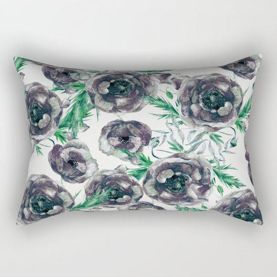 Black Poppies Rectangular Pillow