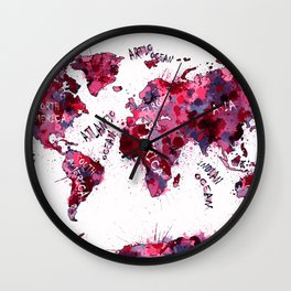 world map color splatter red Wall Clock