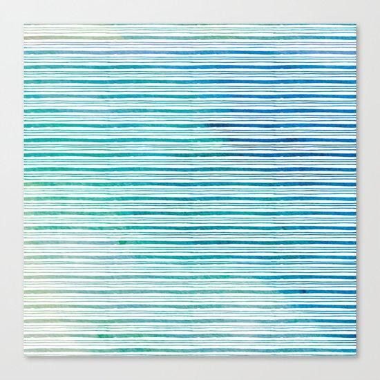 fine aqua handpainted stripes on clear white Canvas Print