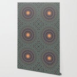 Sun Circle Bohemian Geometric Thread Weave Pattern Original \\ Yellow Gray Blue Purple Color Scheme Wallpaper