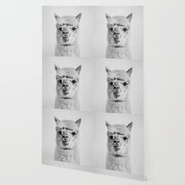Alpaca - Black & White Wallpaper