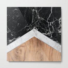 Stone Arrow Pattern - Black & White Marble & Wood #366 Metal Print