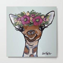 Flower Crown Giraffe, Cute Giraffe Painting Metal Print