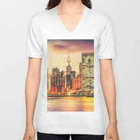 new york city V-neck T-shirts featuring New York City Skyline by Vivienne Gucwa