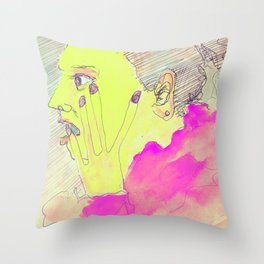 Sketch of a young woman in a coffee bar in Italy Throw Pillow