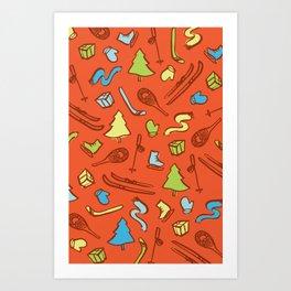 Holiday winter pattern fun Art Print