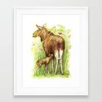 elk Framed Art Prints featuring Elk by Natalie Berman