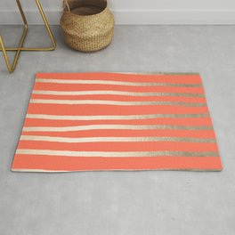 Simply Drawn Stripes in White Gold Sands on Deep Coral Rug