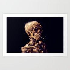 Skull with burning cigarette Art Print