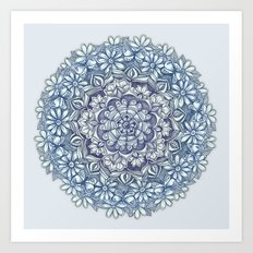 Indigo Medallion with Butterflies & Daisy Chains Art Print
