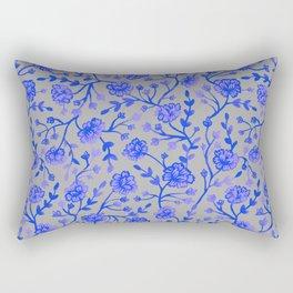 Watercolor Peonies - Cobalt Blue Rectangular Pillow