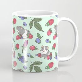 Guinea Pig Pattern in Mint Green Background with mix berries Coffee Mug