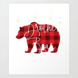 Brother Bear Christmas Pajama Red Plaid Buffalo Matching product Art Print