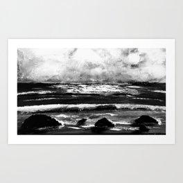 Cloudy day in Canvas beach Art Print