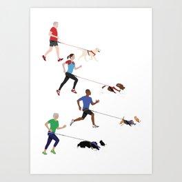 Canicross Quartet Art Print