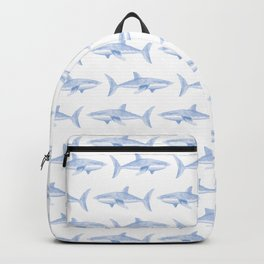 Blue Shark Pattern Backpack