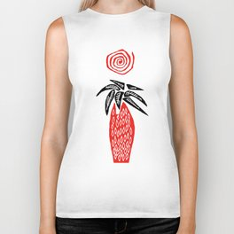 Red Palm Tree Biker Tank