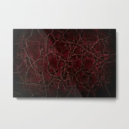 Dark creased leather texture abstract Metal Print