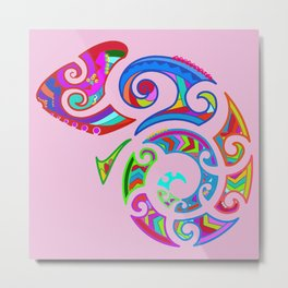 Tribal art chameleon Metal Print