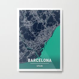 Barcelona Blue Dark Color City Map Metal Print