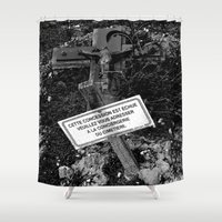 tomb raider Shower Curtains featuring Expired tomb by Gwlad Sas