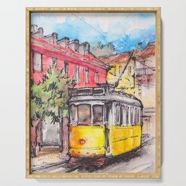 Yellow tram in Lisbon ink & watercolor illustration Serving Tray