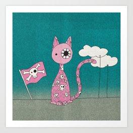 Pink Pirate Cat Art Print