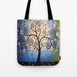 Abstract Art Landscape Original Painting ... Twilight Dreams Tote Bag