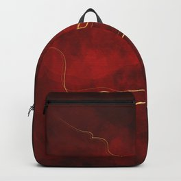 Kintsugi Red #red #gold #kintsugi #japan #marble #watercolor #abstract Backpack