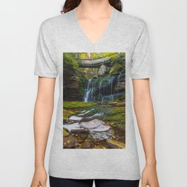 Elakala Falls West Virginia Unisex V-Neck
