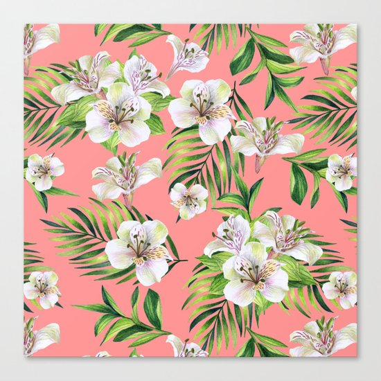 White flowers on a pink background Canvas Print