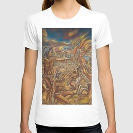 The Fall of Tenochtitlan, the capital of the Aztec Empire landscape by A. Cantu T-shirt