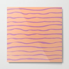 Organic Summer Stripes Lavender Peach  Metal Print