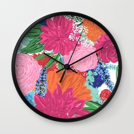 Pretty Colorful Big Flowers Hand Paint Design Wall Clock