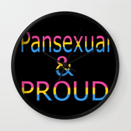 Pansexual and Proud (black bg) Wall Clock
