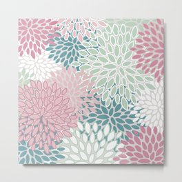 Soft Flower Pattern, Pink, Green, Teal and White Metal Print