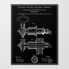 Beer Faucet Patent - Black Canvas Print
