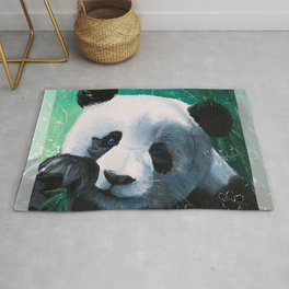 Panda - A little peckish - by LiliFlore Rug