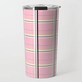 Brigitte B - Stripes yellow on pink background Travel Mug
