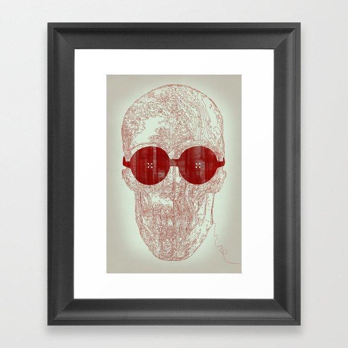 Unravel skull Framed Art Print