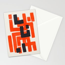 Harsh Mid Century Modern Line Pattern Ancient Aztec Ruins Orange Maze Pattern Black Accent Stationery Cards