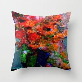 GREEN VASE REDDISH POPPIES STILL LIFE ART Throw Pillow