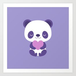 Cute purple baby pandas Art Print