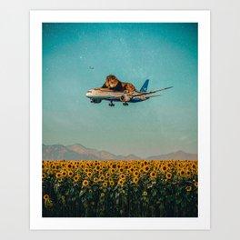 Lion on a plane Art Print