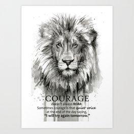 Lion Courage Motivational Quote Watercolor Painting Art Print